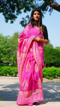 Pink Cotton Printed Butta  Saree-yespoho