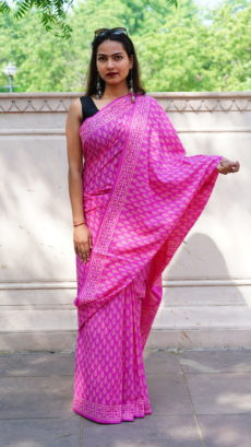 Pink Cotton Printed  Small Butta Saree-yespoho