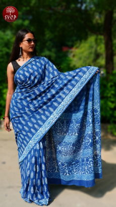 Blue  Cotton Printed Small Butta Saree-yespoho
