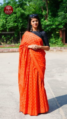 Orange  Cotton Printed  Small Butta  Saree-yespoho