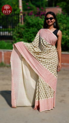Off White, red  Cotton Printed  Small Butta  Saree-yespoho