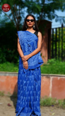 Dark Blue  Cotton Printed  Small Butti  Saree-yespoho