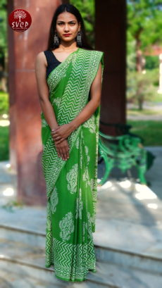 Light Green  Blue Cotton floral  Printed  Saree-yespoho