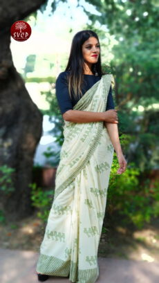 Off white Green Cotton Birds Printed  Saree-yespoho