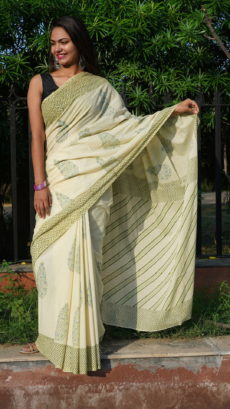 Off white Green Cotton  Floral Butti  Printed  Saree-yespoho