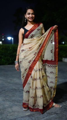 Off White And Red Bird Printed kota Cotton saree-yespoho