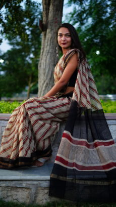 coffee Brown And Red  Stripes  Printed kota Cotton saree-yespoho