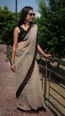 Light Brown And Black Small Butta Printed kota Cotton saree-yespoho