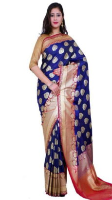 Blue Handloom Semi Pure Katan Silk Saree-yespoho