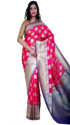 Dark Pink Handloom  Semi Pure Katan Silk Saree .-yespoho