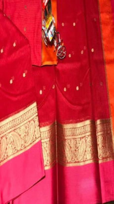 Red Maheshwari Cotton Soft Silk Kota Sarees With Zari Motif .-yespoho