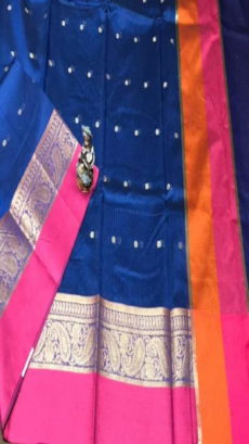 Royal Blue Maheshwari Cotton Soft Silk Kota Sarees With Zari Motif .-yespoho