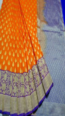 Light Orange, Blue  Banarasi Handloom Semi Pure Katan Silk Saree-yespoho