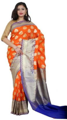 Orange ,Blue Banarasi Handloom Semi Pure Katan Silk Saree-yespoho