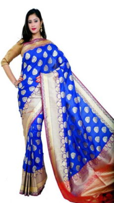 Royal Blue Banarasi Handloom Semi Pure Katan Silk Saree-yespoho
