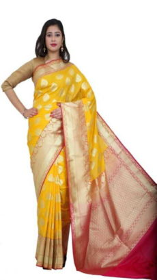 Light Yellow Handloom Semi Pure Katan Silk Saree-yespoho