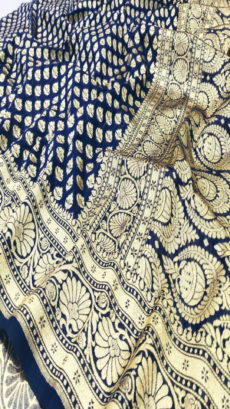 Dark Royal Blue  Banarasi Uppada Katan Silk Saree With Gold Zari-yespoho