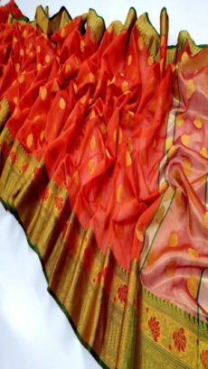 Red Banarasi Cotton Silk Saree .-yespoho