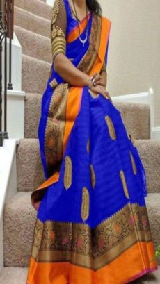 Navy Blue & Orange Banarasi Silk Saree With Design Zari-yespoho