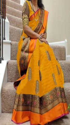Yellow & Orange Banarasi Silk Saree With Design Zari-yespoho