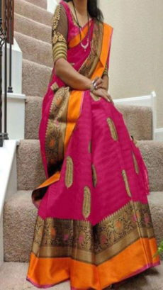 Rani & Orange Banarasi Silk Saree With Design Zari-yespoho