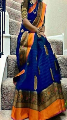 Royal Blue & Orange Banarasi Silk Saree With Design Zari-yespoho
