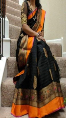 Black & Orange Banarasi Silk Saree With Design Zari-yespoho
