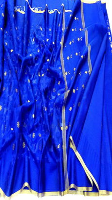 Royal Blue Kora Cotton Tanchui Saree-yespoho