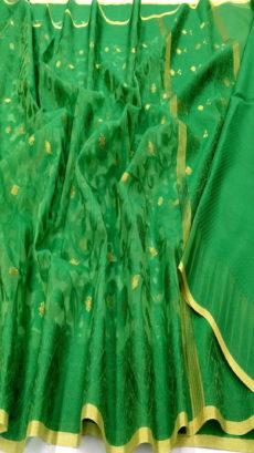 Bottle Green Kora Cotton Tanchui Saree-yespoho