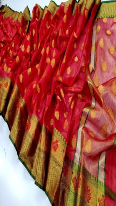Red Banarasi Cotton Silk Saree..-yespoho
