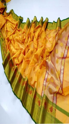 Dark Yellow Banarasi Cotton Silk Saree .-yespoho