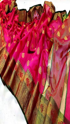 Rani Banarasi Cotton Silk Saree.-yespoho