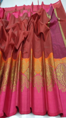 Maroon & Pink Banarasi Cotton  Saree With Satin Border-yespoho