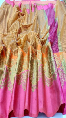 Orange  & Pink Banarasi Cotton Saree With Satin Border-yespoho
