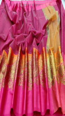 Pink Banarasi Cotton  Saree With Satin Border-yespoho