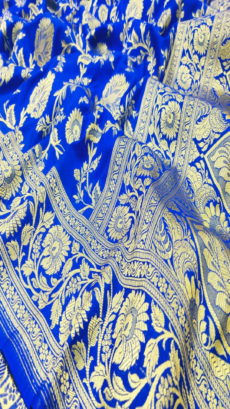 Royal Blue Semi Katan Silk With Banarasi Work Saree.-yespoho