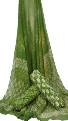 Light Green Floral Hand Block Printed Dress  Material With Chiffon Dupatta-yespoho