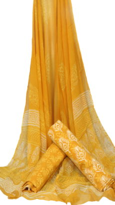 Mustered Yellow Hand Peacock Feather Block Printed Dress Material With Chiffon Dupatta-yespoho