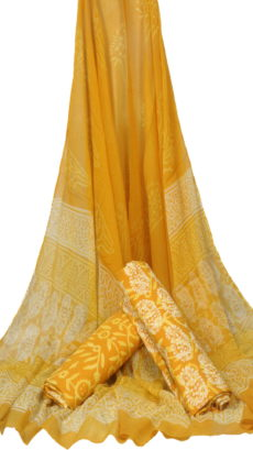 Mustered Yellow Hand block Printed Dress Material  With Chiffon Dupatta-yespoho