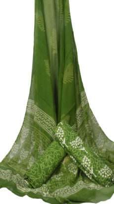 Light Green Hand Block Printed Dress Material With Chiffon Dupatta-yespoho