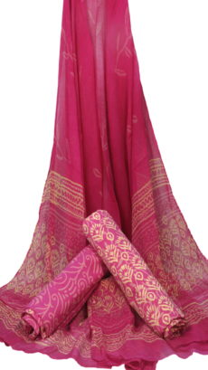 Pink Hand Block Printed Dress Material With Chiffon Dupatta-yespoho