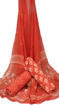 Red  Floral  Hand Block Printed Dress Fabric With Chiffon Dupatta-yespoho