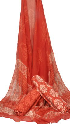 Red Hand Block Printed Dress Material  With Chiffon Dupatta-yespoho