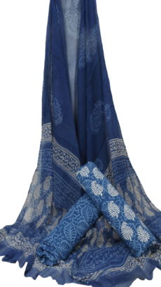 Indigo Blue Hand Leave Block Printed Dress Material With Chiffon Dupatta-yespoho