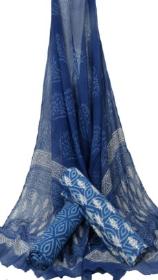 Indigo  Blue Hand Block Printed Dress Material With Chiffon Dupatta-yespoho