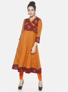 Mytri Women's Orange/Maroon Viscose Printed Anarkali Kurti-yespoho