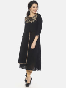Mytri Women'S Black Viscose Print/Solid A-Line Kurti-yespoho