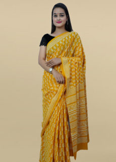 Mustered Yellow Paisley Motif Block Print Saree-yespoho