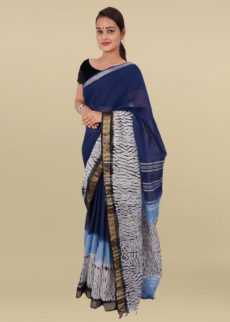 Indigo Blue & Ivory White Tie & Dye Linen Cotton saree-yespoho