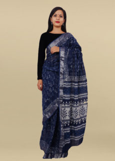 Indigo Blue & lvory White  Floral Block Print Linen Cotton Saree-yespoho